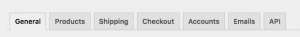 Interfaccia Settings WooCommerce