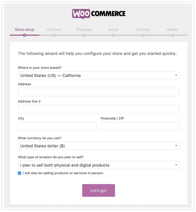 WooCommerce quick-setup wizard